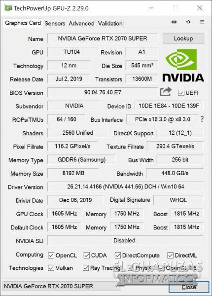 KFA2 GeForce RTX 2070 SUPER lavora i frame - GPU-Z