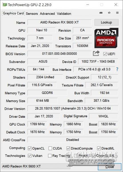 Asus ROG Strix Radeon RX 5600 XT OC - GPU-Z OC