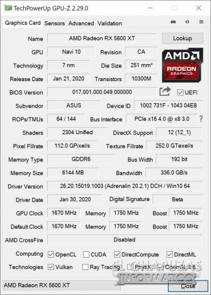 Asus ROG Strix Radeon RX 5600 XT OC - GPU-Z
