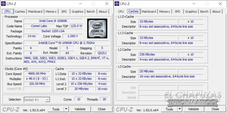 Intel Core i9-10900K - CPU-Z