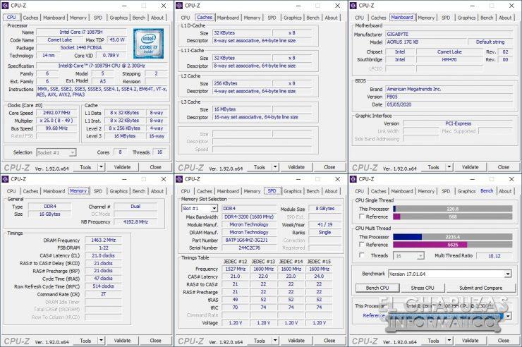 Gigabyte Aorus 17G XB - CPU-Z