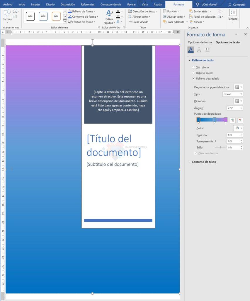 come-fare-una-cover-in-word-custom-colore