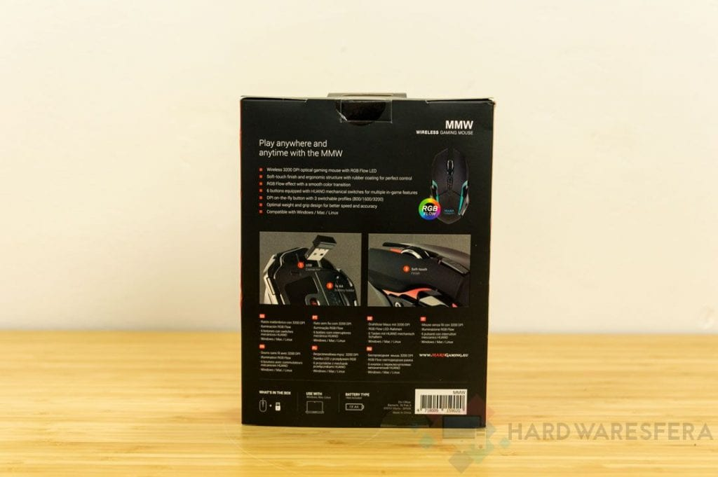 Mouse wireless MarsGaming MMw scatola posteriore RGB