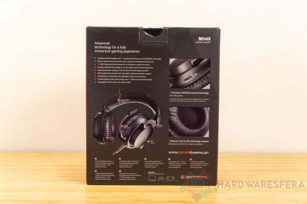MarsGaming MH4X USB Headphones Back Box