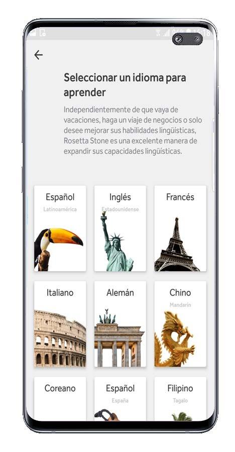 Avvio dell'app Rosetta Stone