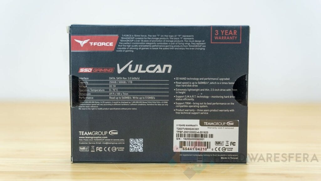 Scatola posteriore T-FORCE-SSD-GAMING-VULCAN-500GB