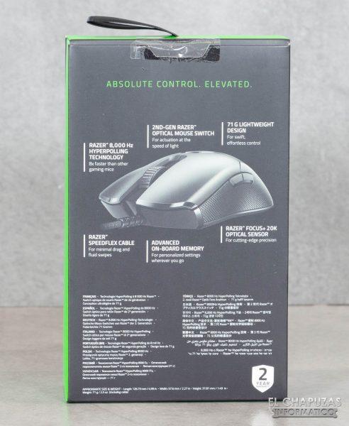 Razer Viper 8KHz - Confezione posteriore