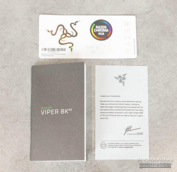 Razer Viper 8KHz - Documentazione e adesivi