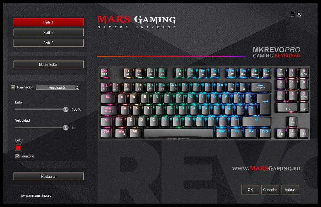 software per tastiera mars gaming mkrevo pro illuminazione rgb