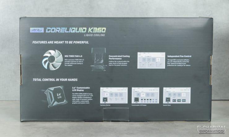 MSI MPG CoreLiquid K360 - Confezione posteriore