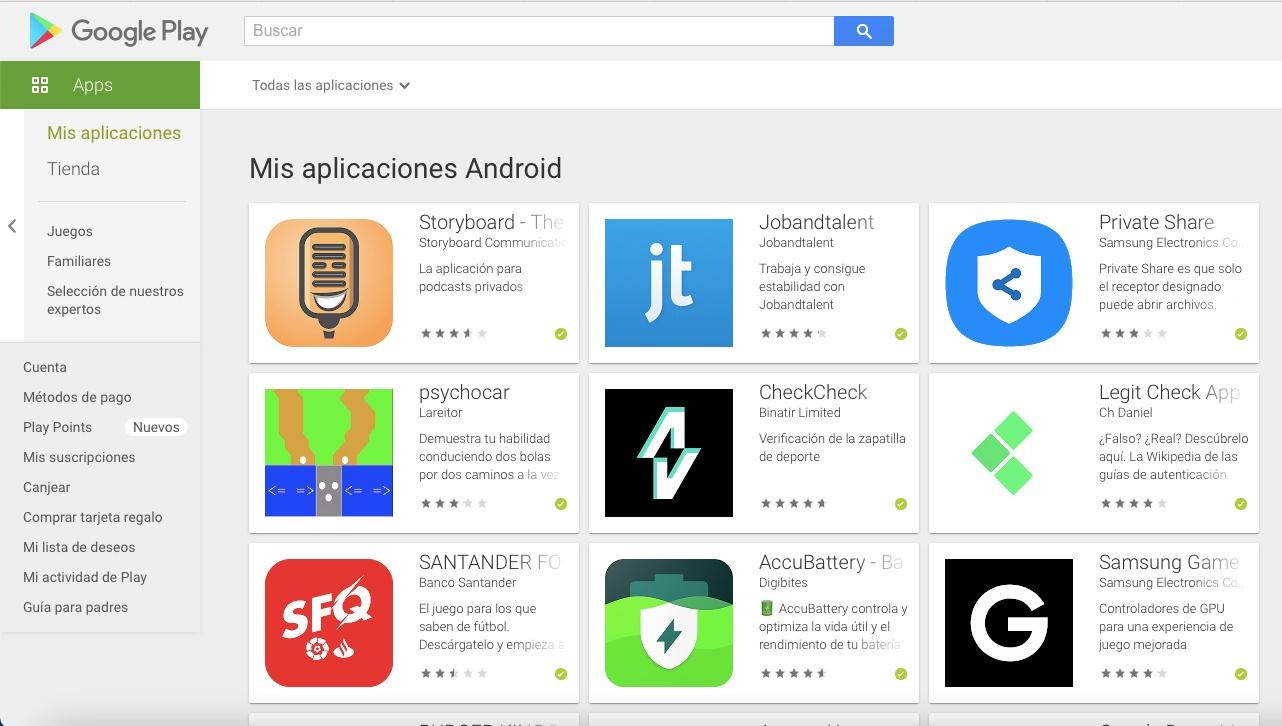 Sezione Google Play Apps