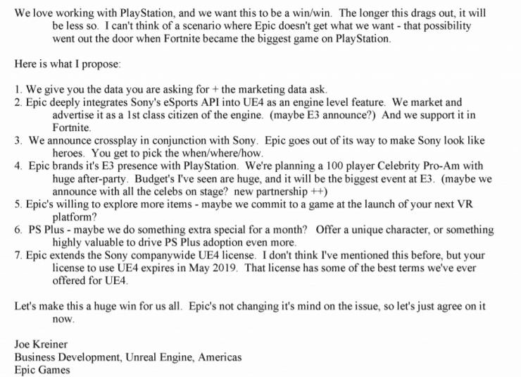E-mail da Joe Kreiner a PlayStation