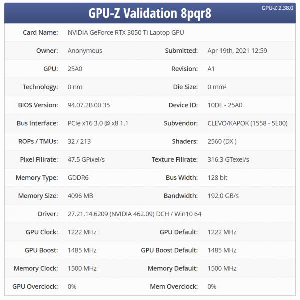 GeForce RTX 3050 Ti GPU-Z