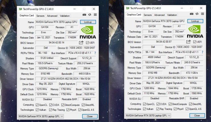 Nvidia GeForce RTX 3070 su Alienware m15